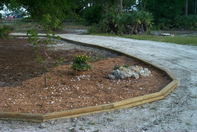 Landscape timbers for driveway